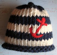 Striped Nautical Childrens Beanie with Anchor by snowflurries, $15.00