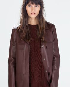 Image 2 of STRAIGHT-CUT FAUX LEATHER COAT from Zara