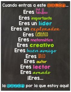 Bilingual: Classroom Posters in Spanish Dual Language Classroom, Bilingual Classroom, Bilingual Education, Education Humor, Spanish Teaching Resources, Spanish Activities, Spanish Lessons, Learn Spanish, Spanish Projects