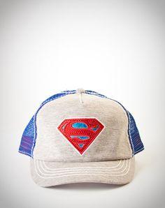 Supergirl Grey and Blue Trucker Hat Blue Grey b17cae77c8a6