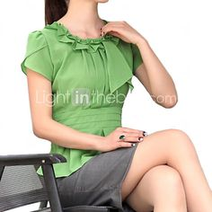 Women's Solid Green/White Blouse , Ruff Collar Short Sleeve Pleated/Ruffle - CAD $19.45