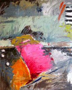 LRG Abstract Landscape Modern Painting M Devine Pink Orange Radiant Orchid Mint | eBay