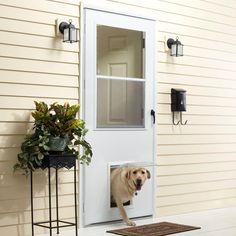 K900 Series White Vinyl Self Storing Pet Storm Door With Black Hardware. Exterior  DoorsEntry ...