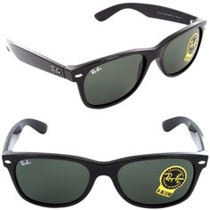 61050b9672 Ray-Ban Unisex RB 2132 901 New Wayfarer Sunglasses Black   Green Lens