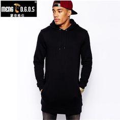 Новинка Бесплатная доставка Модные Для мужчин длинные черные Толстовки кофты feece с боковой молнией удлиненный хип-хоп Уличная рубашка Цена: US $21.50 - 22.90 / шт. Цена со скидкой: US $16.13 - 17.18 / шт.  -25%