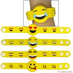 SILICONE EMOJI SNAP BRACELETS. With 2 snaps to ensure a comfortable fit, these adorable soft bracelets will delight any Emoji fan. Each cello bagged. Perfect for Easter basket treats, Christmas stocking stuffers and party favors. Size 8 Inches