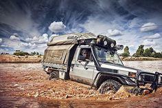 Toyota Land Cruiser Pick-up. Finke River crossing, Northern Territory.
