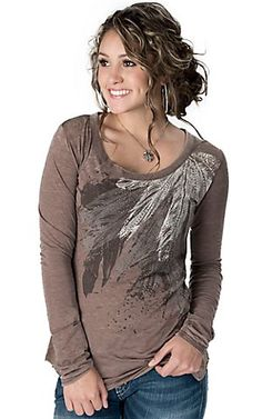 Rock & Roll Cowgirl® Women's Brown with Embellished Feathers Long Sleeve Burnout T-Shirt | Cavender's