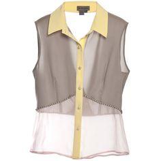 DB Berdan Sleeveless Silk Shirt (9.430 RUB) ❤ liked on Polyvore featuring tops, blouses, shirts, blusas, brown sleeveless top, no sleeve shirt, brown shirt, brown silk blouse and silk tops