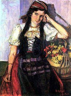 """""""Georgina"""", de ANITA MALFATTI  Trata-se de um retrato da irmã de Anita, Georgina Malfatti, no qual ela aparece apoiada em uma cesta de flores. Embora a obra possua traços delicados, a quantidade de cores utilizada na composição é grande, o que acabou gerando desconforto por parte da sociedade, que esperava de Anita a famosa """"arte acadêmica""""."""