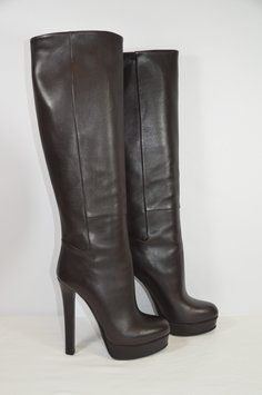 "GUCCI Leather Knee Hgih 5"" Heel Size 37/7m Sy DARK Brown Boots. Get the must-have boots of this season! These GUCCI Leather Knee Hgih 5"" Heel Size 37/7m Sy DARK Brown Boots are a top 10 member favorite on Tradesy. Save on yours before they're sold out!"