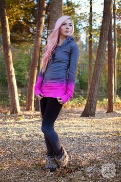 Hand Dyed Pink and Gray Long Hoodie Dress - Festival Top - Hiking Clothes - Activewear - Colorful Hoodie