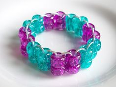 Purple & Teal Green Double Strand Sparkle Children's Elastic Bracelet by Purple Wyvern Jewels