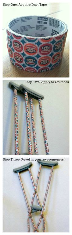 Decorate Crutches with Duct Tape! So cute and easy. | HousewifeHellraiser.com