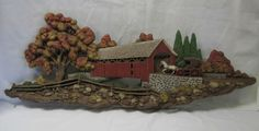 Vintage Red Covered Bridge Horse & Buggy Fall Scene Burwood Wall Plaque Rustic #Burwood #Lodge