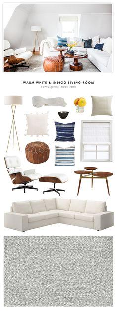 Copy Cat Chic Room Redo | Warm White and Indigo Living Room