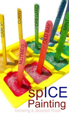 Make your own frozen spICE paints.  This activity is loaded with sensory exploration and is a simple way to add some chill to a hot Summer day!