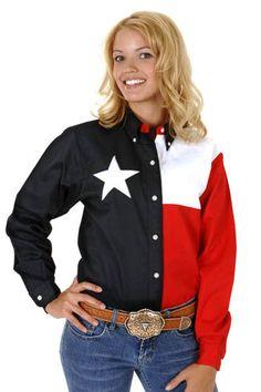 Womens Roper DS Texas Flag Long Sleeve Shirt | AA Callister