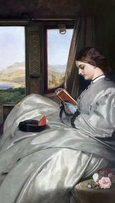 ✉ Biblio Beauties ✉ paintings of women reading letters & books - Augustus Leopold Egg | The Travelling Companions (detail), 1862