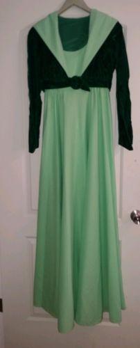 1970s-Vintage-Evening-Prom-Gown-Green-Sleeveless-Dress-Dark-Green-Velvet-Jacket
