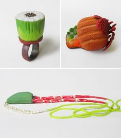 Individually handcarved and painted jewellery pieces by Natalia Milosz-Piekarska, inspired by food.