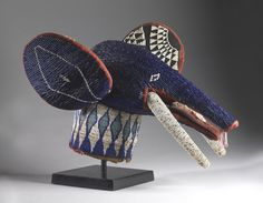 Africa | Beaded elephant headdress from the Bamileke people of Cameroon. Glass beads, wood, cloth and raffia | ca. 19th century