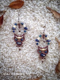 Macrame earrings with sodalite stones. Tribal earrings. Ethnic earrings. Gipsy earring. Hippie Boho chic jewelry. Festival. Spiritual.