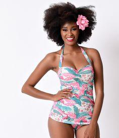 260ff6b4ff Bettie Page Swim 1950s Pin Up Teal   Pink Tiki Flamingo Sheath Halter  Swimsuit 1950s Pin