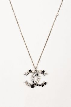 Gorgeous estate 14k white gold diamond chanel pendant necklace silver toned black crystal and faux pearl chanel cc logo pendant necklace aloadofball Choice Image
