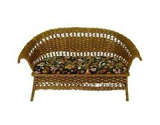 Wilhelmina Velvet Upholstered Wicker Loveseat 1:12 Artisan Dollhouse Miniature