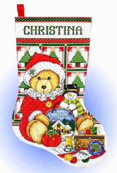 Design Works Counted #crossstitch  TEDDY BEAR SANTA #stocking #christmas #decor