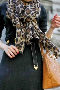Black + leopard scarf + camel handbag (Also has some great general tips for the working lady! How To Have Style, Style Me, Look Fashion, Womens Fashion, Street Fashion, Fashion Ideas, Fashion Outfits, Leopard Scarf, Leopard Clutch