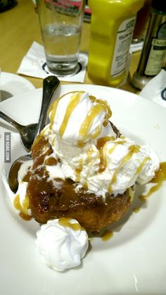 Cinnamon Roll Sundae, topped with vanilla ice cream, whipped cream and ...