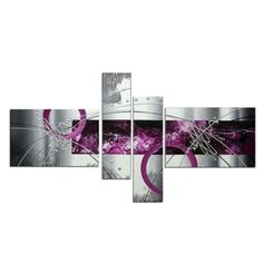 COZY Set Modern Abstract Grey Silver Lines Purple Oil Painting on Canvas Wall Art Home Living Room Decoration Picture (No Frame) Abstract City, Abstract Wall Art, Canvas Wall Art, Oil Painting On Canvas, Painting Frames, Gold Tooth Cap, Decoration Photo, Decorating With Pictures, Landscape Walls