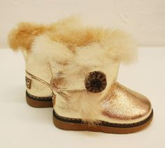 Girls Soft Fur Glitter Champagne Imitation Ugg Boots