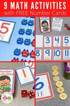 Add these free printable 1-12 number cards, counters, Preschool Activities At Home, Counting Activities, Number Activities, Learning Games, Math Games, Early Learning, Number Sense Kindergarten, Kindergarten Math, Free Printable Numbers