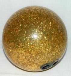 Gold Crown Bowling Ball Brunswick Real 9k Flakes Sparkle Vtg Retro 16 Lbs Pound #Brunswick #Bowling Alley Bowler Sparkly Flashy Team Vintage 1960s