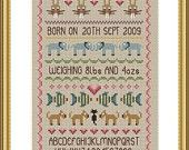 Baby Boy Birth Sampler cross stitch chart by Little Dove Designs Cross Stitch Baby, Cross Stitch Samplers, Counted Cross Stitch Patterns, Cross Stitching, Cross Stitch Embroidery, Alphabet And Numbers, Baby Design, New Baby Products, Baby Boy
