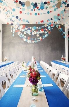 Red, White, and Blue Wedding Reception Decor #Patriotic