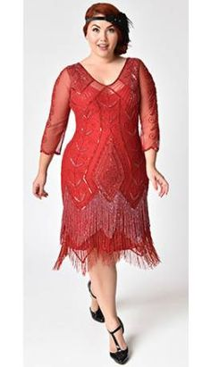 380a316ea2c Plus Size 1920s Style Red Sleeved Beaded Scarlet Fringe Flapper Dress Plus  Size Flapper Dress