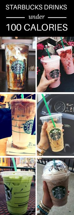 10 Delicious Starbucks Drinks Under 100 Calories - Starbucks - Coffee Low Calorie Starbucks Drinks, Starbucks Secret Menu Drinks, Low Calorie Drinks, 100 Calorie Snacks, Starbucks Recipes, Coffee Recipes, Cold Starbucks Drinks, 100 Calorie Breakfast, Healthy Recipes
