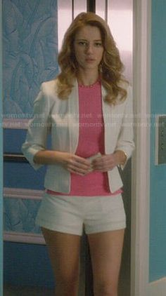 Petra's white blazer and shorts with pink top and necklace on Jane the Virgin.  Outfit Details: http://wornontv.net/47894/ #JanetheVirgin