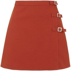 TOPSHOP TALL Buckle A-Line Mini Skirt ($80) ❤ liked on Polyvore featuring skirts, mini skirts, orange, topshop, short a line skirt, red a line skirt, red mini skirt and orange skirt