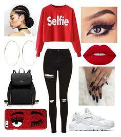 """SELFIE!!"" by amirah-lockett ❤ liked on Polyvore featuring NIKE, Lime Crime, Kenneth Jay Lane and Chiara Ferragni"