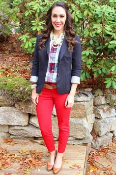 Red Pants - Old Navy (if red ain't your thang, they also come in like a billion other colors/patterns) Las Vegas Fashion, My Signature, Fiery Red, Red Pants, Fall Looks, Color Patterns, Plaid, Blazer, Outfits