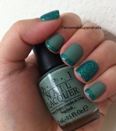 Sage green with glitter accent nail and French tips - very simple !