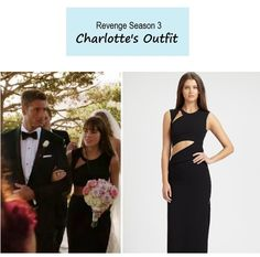 "On the blog: Charlotte's (Christa B. Allen) black cutout gown | Revenge - ""Exodus"" (Ep. 310) #tvstyle #tvfashion #outfits #fashion"
