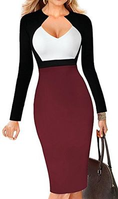 Price: from $19.99 | LUNAJANY Women's V-neck Colorblock Wear to Work Office Bodycon Pencil Dress