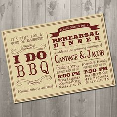 I DO BBQ  Wedding Rehearsal Dinner by SimplySmittenDesigns on Etsy, $15.00