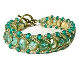 Beaded Bracelet, Flat Spiral Beadwork Bracelet, Green Bracelet, Blue Bracelet,